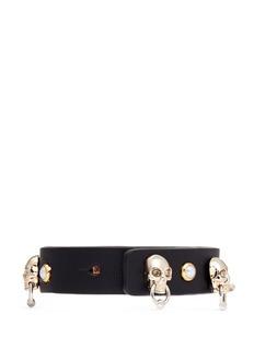 Alexander McQueenSkull faux pearl stud leather bracelet