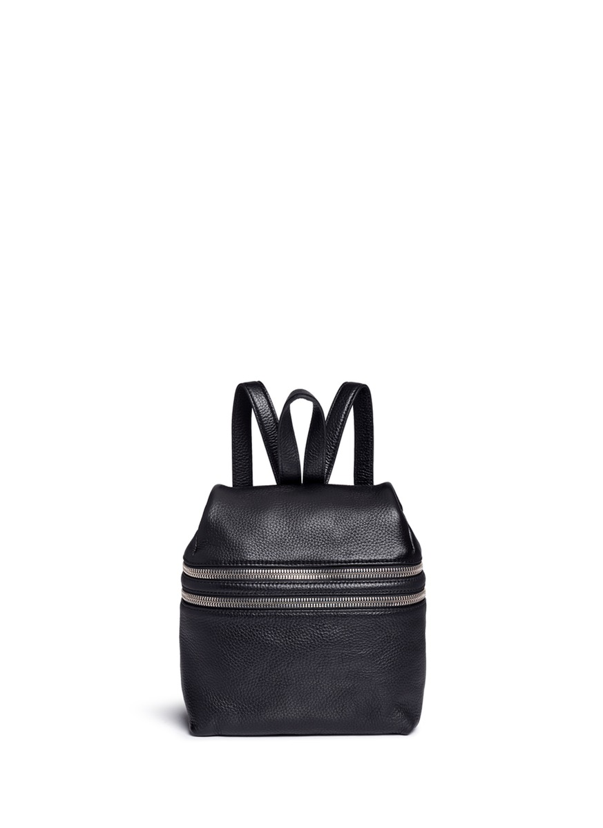 Small double zip leather backpack by Kara
