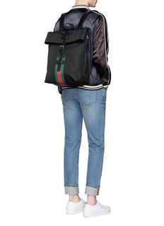 Gucci Stripe trim canvas backpack