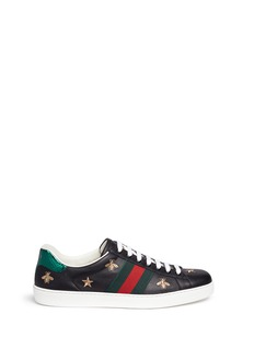 Gucci Bee and star embroidery leather sneakers
