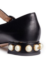 Logo pearl scalloped leather Mary Jane flats