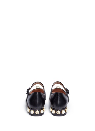 Back View - Click To Enlarge - Gucci - Logo pearl scalloped leather Mary Jane flats