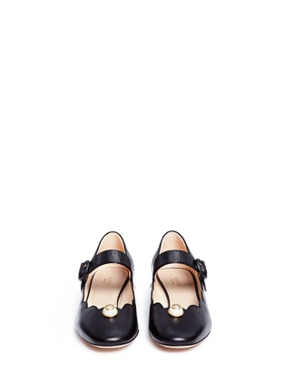 Front View - Click To Enlarge - Gucci - Logo pearl scalloped leather Mary Jane flats