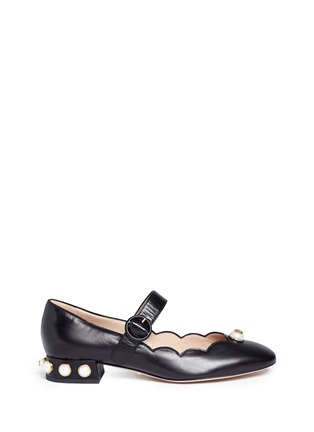 Main View - Click To Enlarge - Gucci - Logo pearl scalloped leather Mary Jane flats
