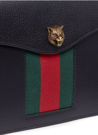 Detail View - Click To Enlarge - Gucci - 'Animalier' tiger head web leather shoulder bag