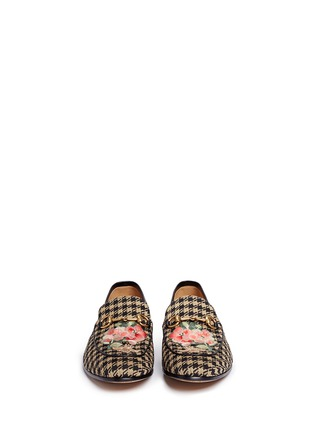 Front View - Click To Enlarge - Gucci - Floral bee embroidery houndstooth moccasins