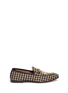 Gucci Floral bee embroidery houndstooth moccasins