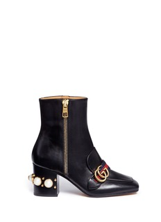 GucciLogo faux pearl leather boots