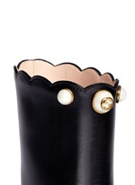 Faux pearl scalloped cuff leather boots