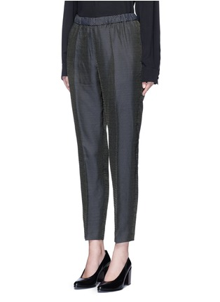 Front View - Click To Enlarge - Dries Van Noten - 'Palmira' metallic jacquard elastic waist pants