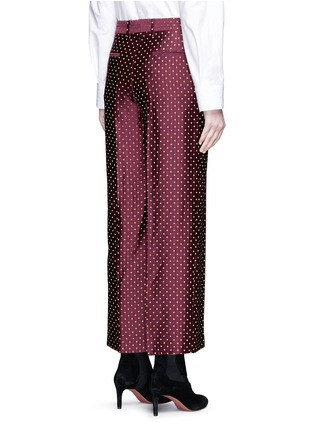 Back View - Click To Enlarge - Dries Van Noten - Polka dot stripe jacquard cropped satin pants