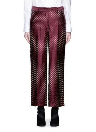 Main View - Click To Enlarge - Dries Van Noten - Polka dot stripe jacquard cropped satin pants
