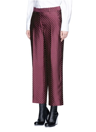 Figure View - Click To Enlarge - Dries Van Noten - Polka dot stripe jacquard cropped satin pants