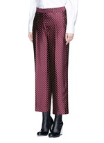 Polka dot stripe jacquard cropped satin pants