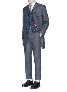 Thom Browne Glen plaid hairline overcheck wool coat