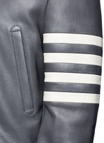 Stripe sleeve padded deer leather varsity jacket
