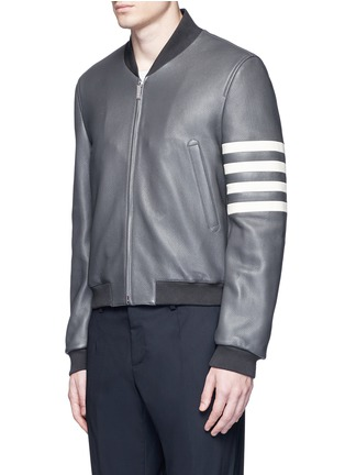 Front View - Click To Enlarge - Thom Browne - Stripe sleeve padded deer leather varsity jacket