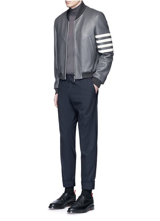 Thom Browne - Stripe sleeve padded deer leather varsity jacket