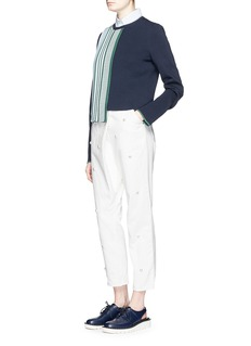 MUVEIL Faux pearl front twill pants