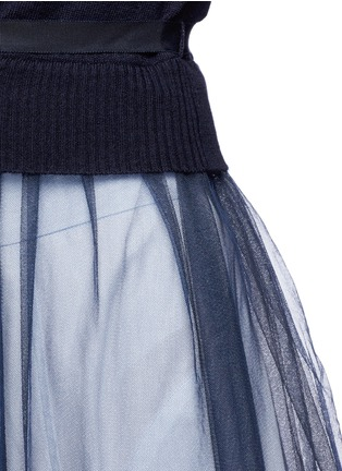 Detail View - Click To Enlarge - Muveil - Wool-blend wrap cardigan tulle skirt dress