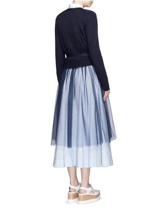 Back View - Click To Enlarge - Muveil - Wool-blend wrap cardigan tulle skirt dress