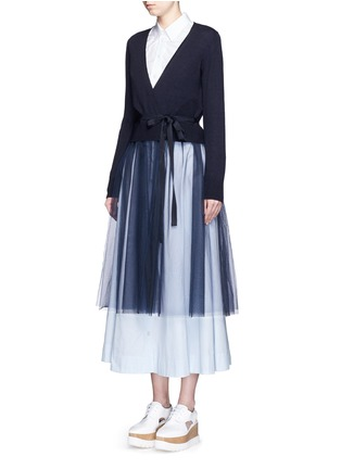 Front View - Click To Enlarge - Muveil - Wool-blend wrap cardigan tulle skirt dress