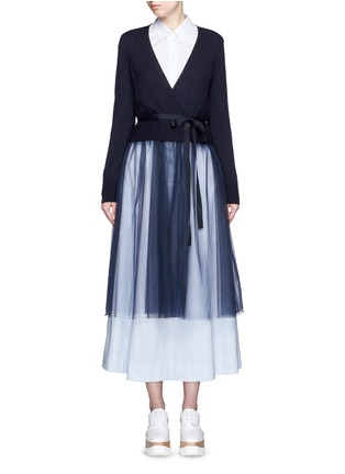 Main View - Click To Enlarge - Muveil - Wool-blend wrap cardigan tulle skirt dress