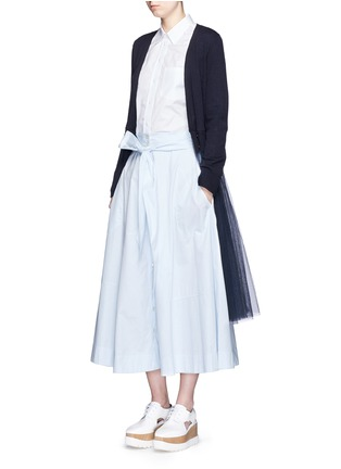 Figure View - Click To Enlarge - Muveil - Wool-blend wrap cardigan tulle skirt dress