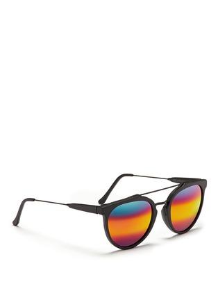 模特儿示范图 - 点击放大 - SUPER - GIAGUARO中性款哑光圆框太阳眼镜