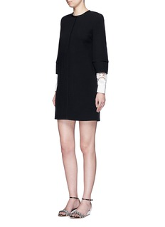 VICTORIA, VICTORIA BECKHAMGuipure lace sleeve wool crepe shift dress