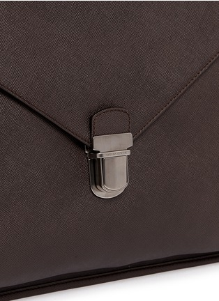 Detail View - Click To Enlarge - GIORGIO ARMANI - Saffiano leather flap front briefcase