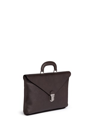Front View - Click To Enlarge - GIORGIO ARMANI - Saffiano leather flap front briefcase