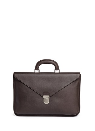 Main View - Click To Enlarge - GIORGIO ARMANI - Saffiano leather flap front briefcase