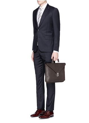 Figure View - Click To Enlarge - GIORGIO ARMANI - Saffiano leather flap front briefcase