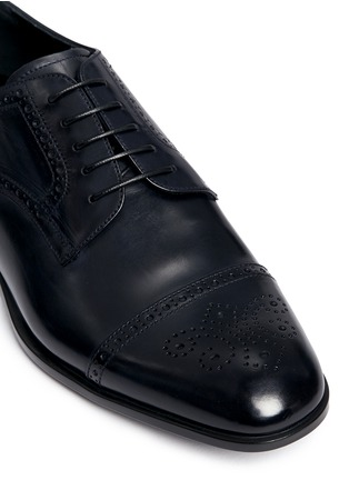 Detail View - Click To Enlarge - GIORGIO ARMANI - Semi brogue leather Derbies