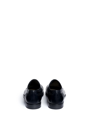 Back View - Click To Enlarge - GIORGIO ARMANI - Semi brogue leather Derbies