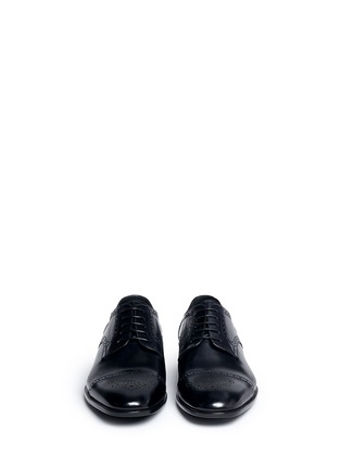 Front View - Click To Enlarge - GIORGIO ARMANI - Semi brogue leather Derbies