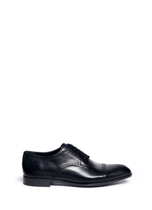 Main View - Click To Enlarge - GIORGIO ARMANI - Semi brogue leather Derbies