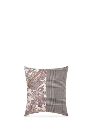 Main View - Click To Enlarge - Etro - Zanzibar Gambia paisley print Glen plaid patchwork cushion