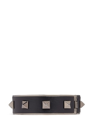 Main View - Click To Enlarge - Valentino - 'Rockstud Noir' inlaid leather bangle