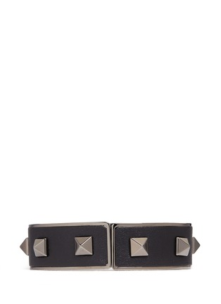 Figure View - Click To Enlarge - Valentino - 'Rockstud Noir' inlaid leather bangle