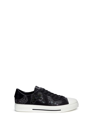Main View - Click To Enlarge - Valentino - 'Camubutterfly Noir' embroidery sneakers