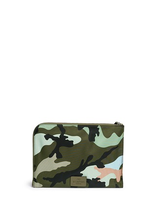 Back View - Click To Enlarge - Valentino - Camouflage print nylon zip pouch