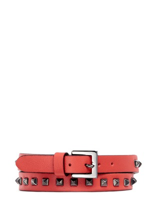 Figure View - Click To Enlarge - Valentino - 'Mini Rockstud' double wrap leather bracelet