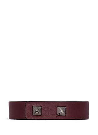 Figure View - Click To Enlarge - Valentino - 'Rockstud' metal bar leather bracelet