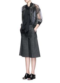 3.1 PHILLIP LIMShirred neckline silk crepe sleeveless blouse