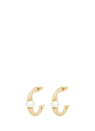 Main View - Click To Enlarge - Chloé - 'Darcey' Swarovski pearl plated brass half hoop earrings