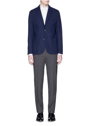 Lanvin-Grosgrain collar cotton poplin shirt