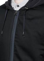 Twill front bonded jersey zip hoodie