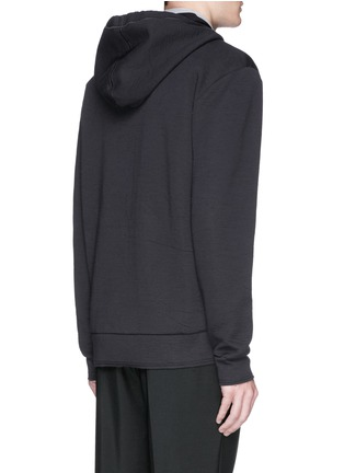 Back View - Click To Enlarge - Lanvin - Twill front bonded jersey zip hoodie